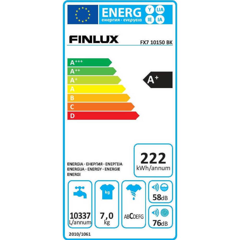 Πλυντήριο ρούχων 7kg A+, FX7 10150 BK, Finlux