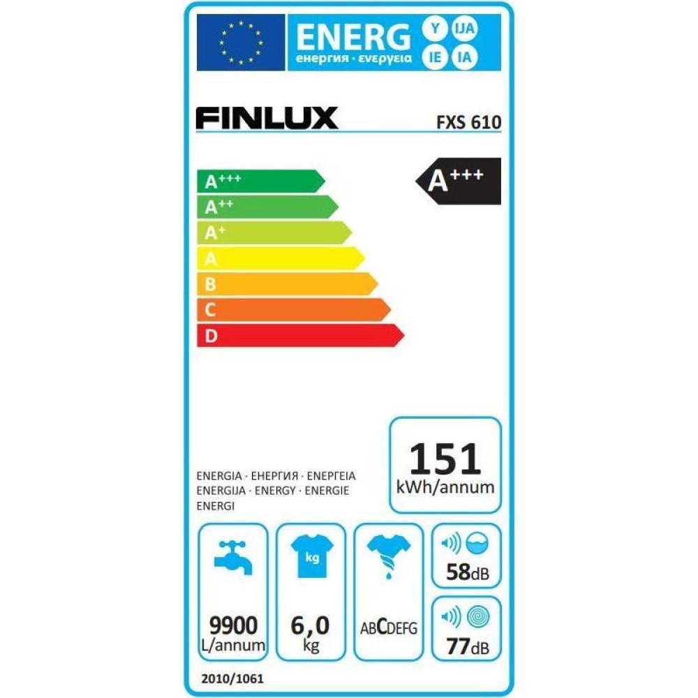 Πλυντήριο ρούχων 6kg, FXS 610, Finlux