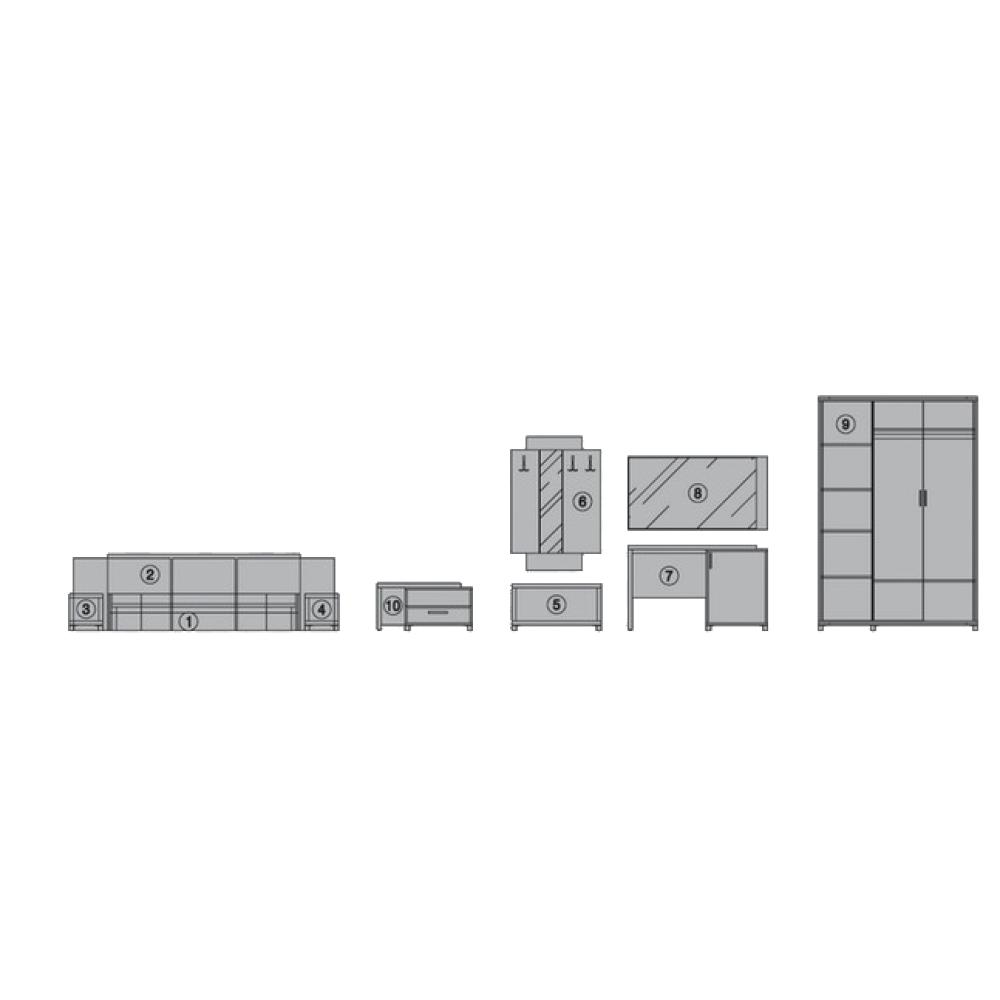 Σετ Κρεβατοκάμαρας 9 τεμαχίων, Rhodes, Genomax
