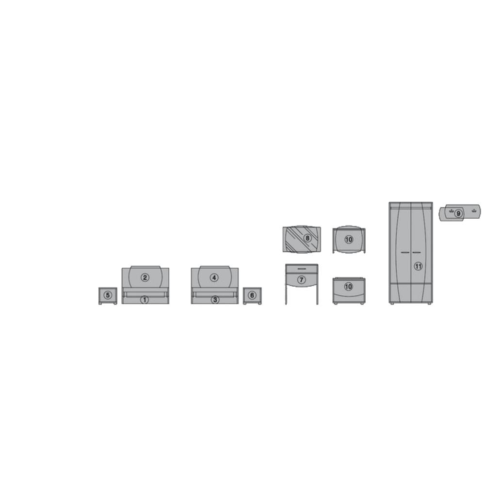 Σετ Κρεβατοκάμαρας 9 τεμαχίων, Merida, Genomax