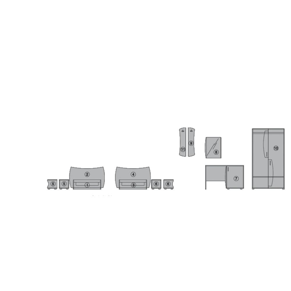 Σετ Κρεβατοκάμαρας 9 τεμαχίων, Borneo, Genomax