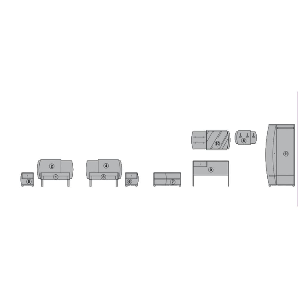Σετ Κρεβατοκάμαρας 9 τεμαχίων, Maldivi, Genomax