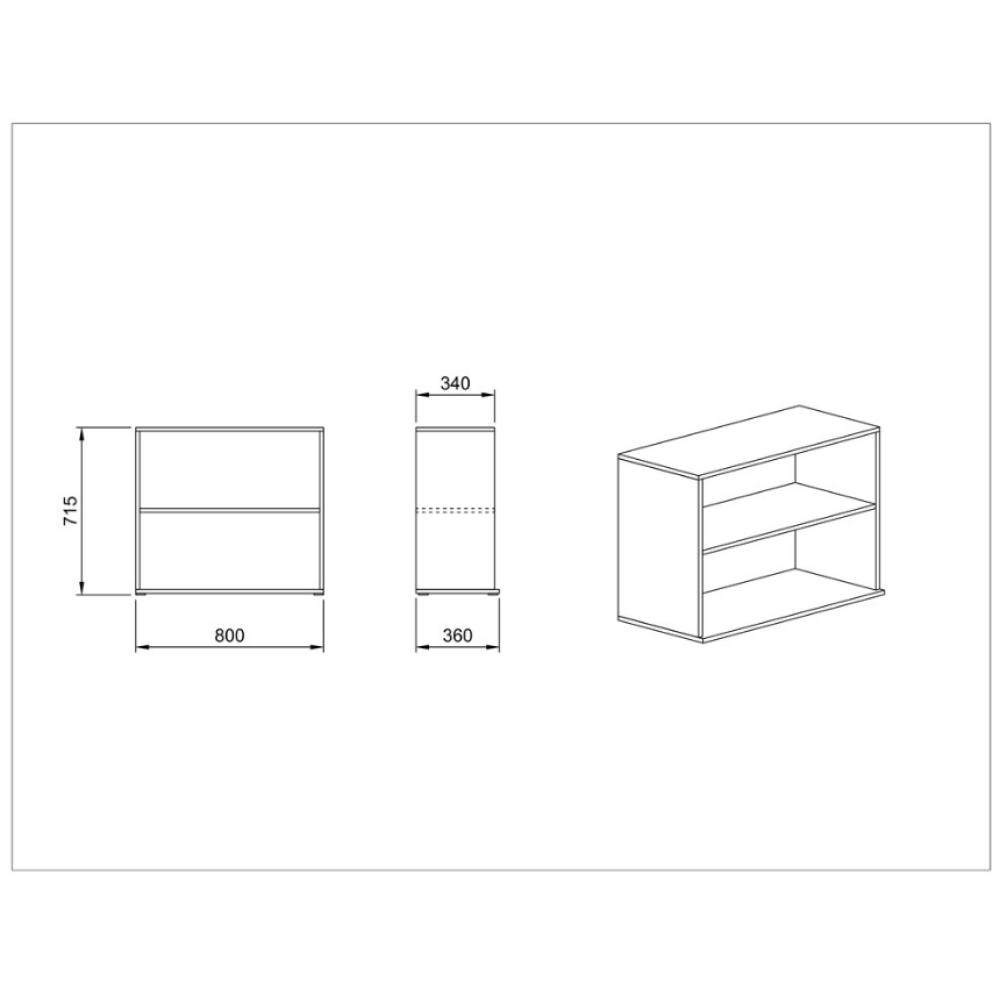Βιβλιοθήκη  80x36x71,5, Modul 54, Genomax