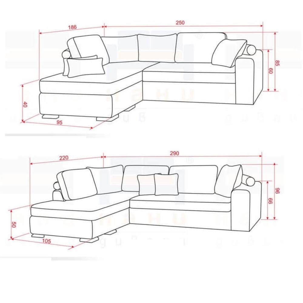 Γωνιακός Καναπές Κρεβάτι 250/85/186 εκ. Luna Mini