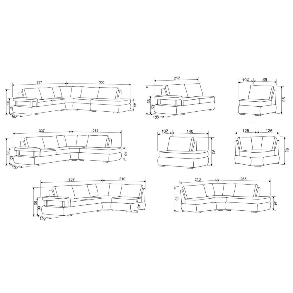 Καναπές 337x350/93/102 εκ. Premier