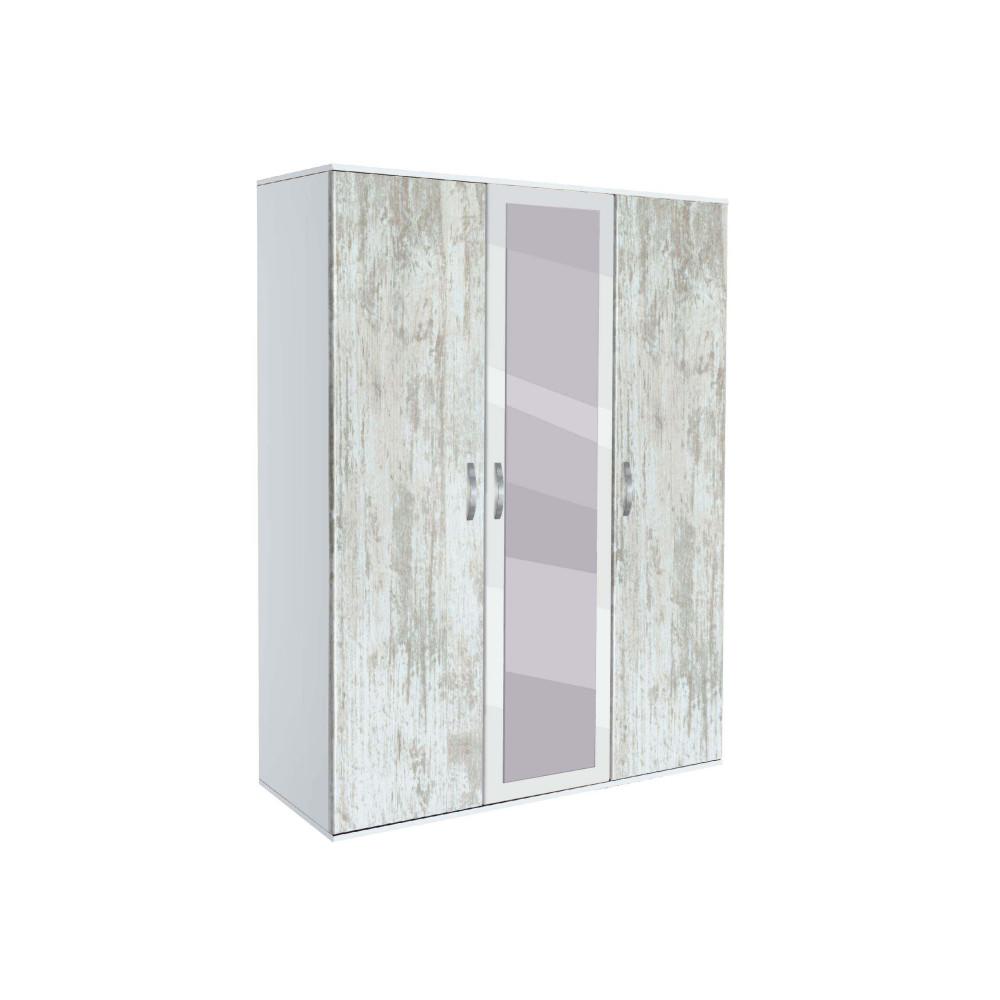 Ντουλάπα Τρίφυλλη με καθρέφτη, AVA 31, 117x185x50, Genomax