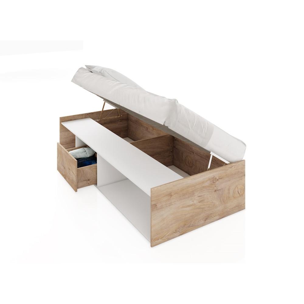 Κρεβάτι με αποθηκευτικό χώρο, 204x90x40, 90/200, Δώρο Μηχανισμός Ανύψωσης Classic 951, Genomax