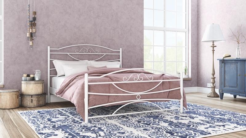 Μεταλλικό διπλό κρεβάτι Ramon 90-160/190-200, Silk - Λευκό